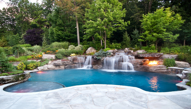 Backyard Swimming Pool Waterfall Design  Bergen County NJ Contemporary Pools  And Hot