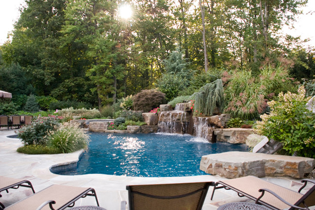 Backyard Swimming Pool Waterfall Design Bergen County NJ Contemporary