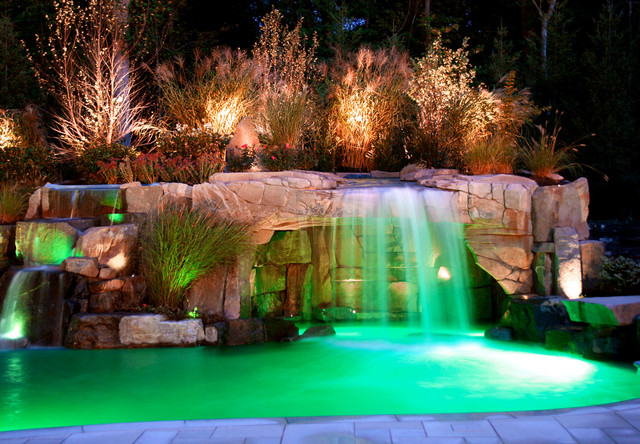 Backyard Swimming Pool Waterfall With Color Led Lightingdesign