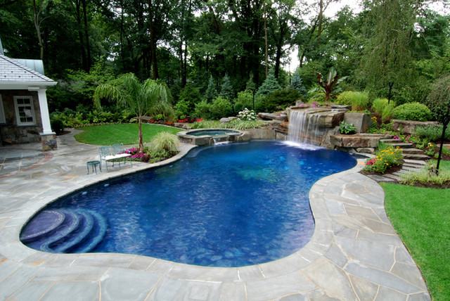 Backyard Swimming Pool With Boulder Waterfall Design Bergen County