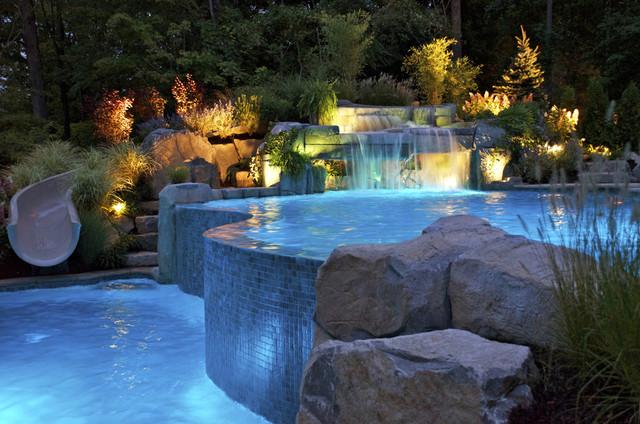 Backyard Vanishing Edge Swimming Pool Waterfall Design