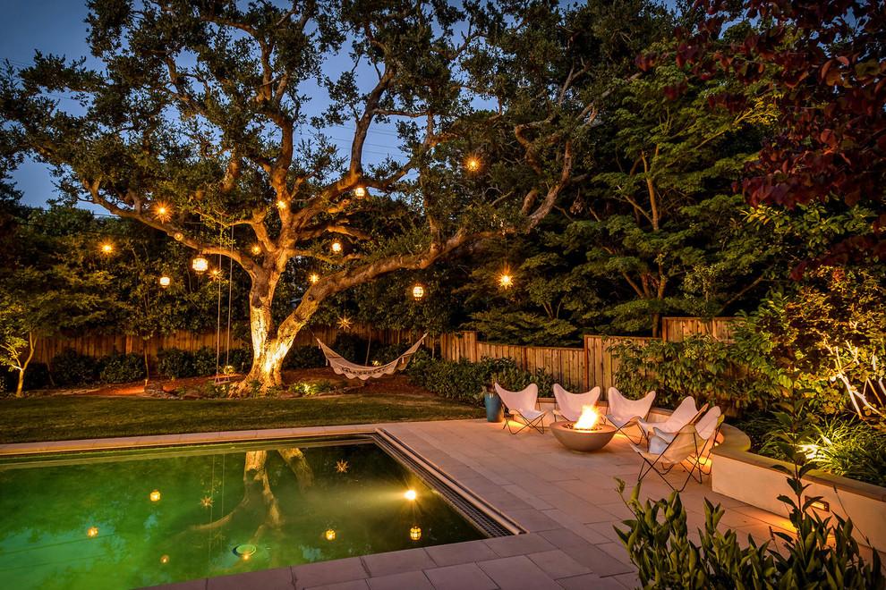 Tuscan backyard rectangular pool photo in San Francisco