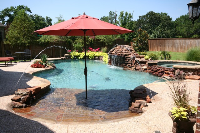 Beach entry pools beach style pool dallas by for Pool design with beach entry