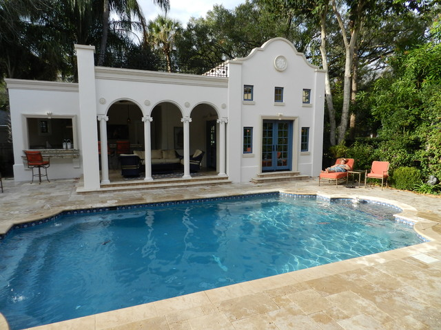 Beach park poolhouse pool and backyard mediterranean for Pool design tampa