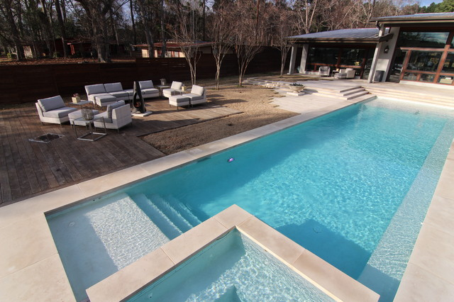 Beatuiful modern style swimming pool on lake tyler for Modern contemporary swimming pools
