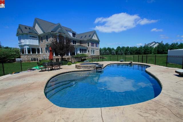 Beautiful custom freeform style salt water pool with - Salt water swimming pools los angeles ...