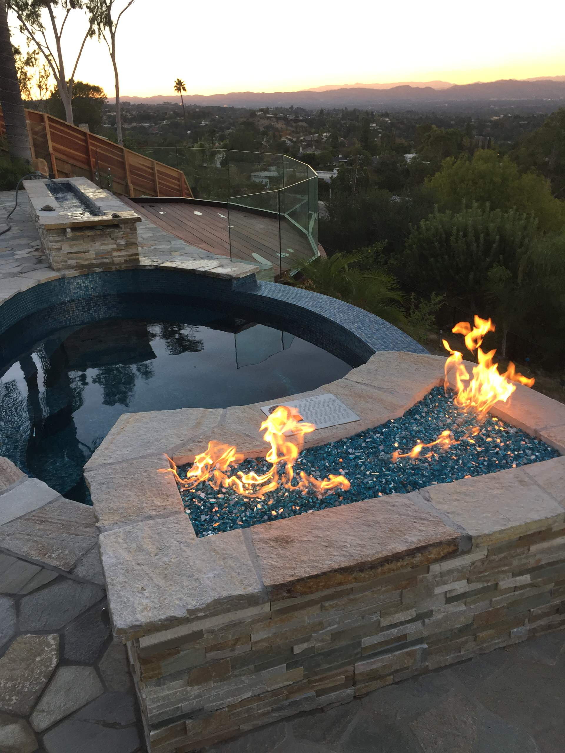 Before & After - Infinity Spa with Fire Glass