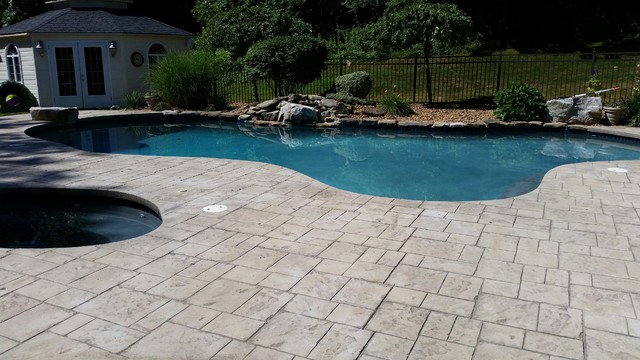 Before Picture of Stamped Concrete Pool Deck, Unsealed traditional-pool