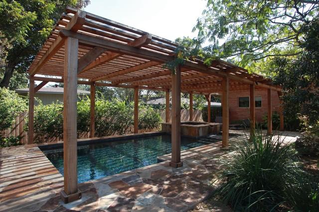 Beldon over pool pergola bord de mer piscine austin par lone star state construction - Pergola piscine ...