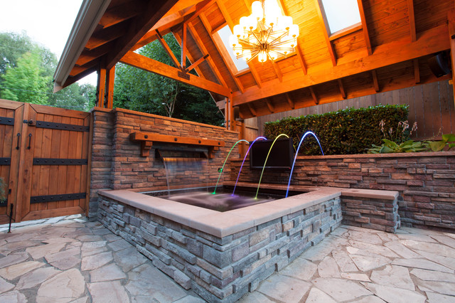 Bellevue hot tub experience craftsman pool seattle for Hot tub landscape design