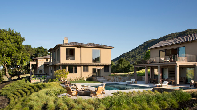 Inspiration for a transitional rectangular pool house remodel in San Francisco