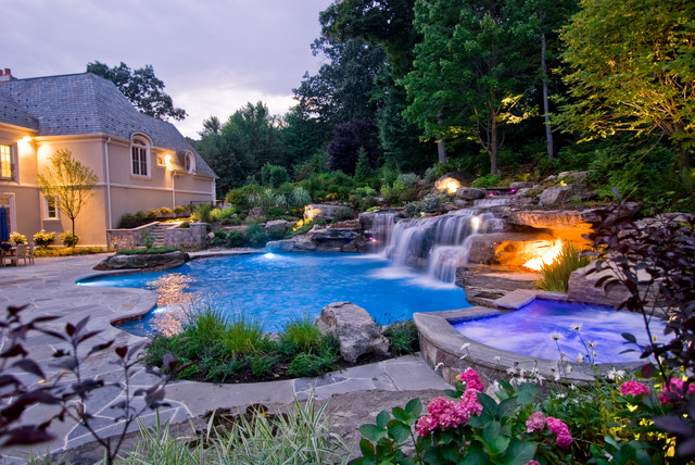 in ground pools with waterfalls. Interesting Pools Bergen County NJ InGround Swimming Pool U0026 Waterfalls Americantraditional Swimmingpool And In Ground Pools With S