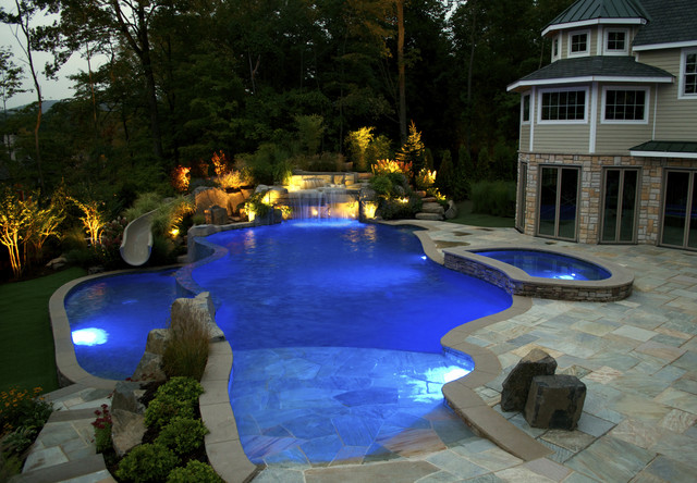 Bergen County, NJ Vanishing Edge Inground Swimming Pool Design U0026  InstallationTraditional Pool, New York