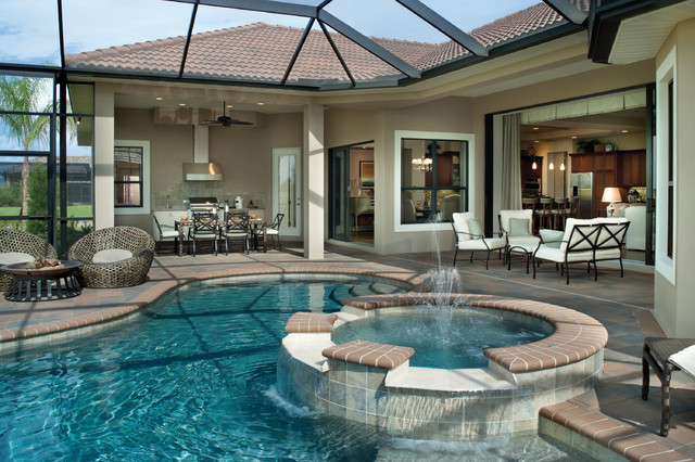 Bermuda 1129 mediterranean pool tampa by arthur for Luxury ranch house plans with indoor pool