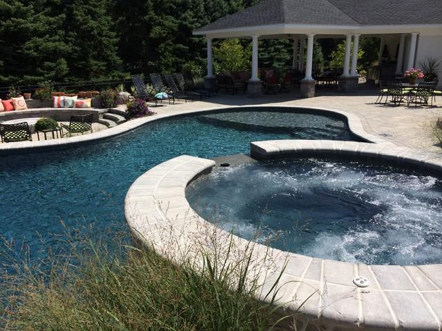 Bethlehem township pool and spa with waterfall and sunshelf traditional pool philadelphia for Mounts swimming pool northampton