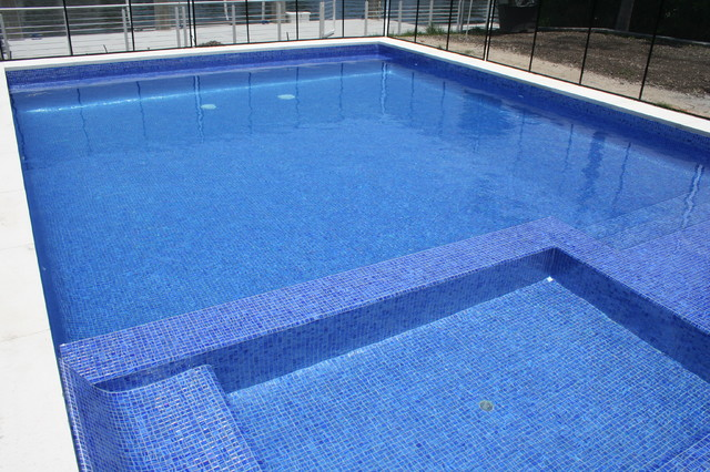 Blue Glass Tile Pool Modern Pool Miami By Foreverpools
