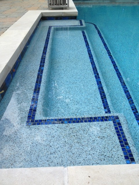 Blue Lagoon Pebble Tec Pool Finish Highlight Tile Transitional Pool Raleigh By Vue