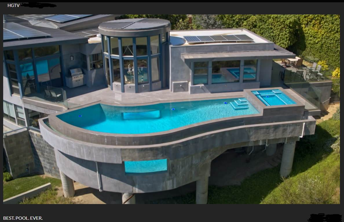 Brentwood -  Hillside 360 Overflow Infinity Swimming Pool with Windows and Spa