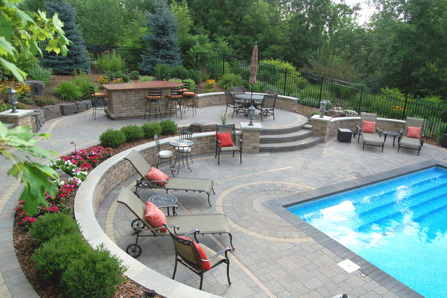 Tiered Backyard With Pool : Brick  Traditional  Pool  Minneapolis  by Blackstone Hardscape