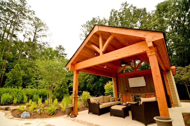 Cabana outdoor living space traditional pool atlanta for Pool cabana plans
