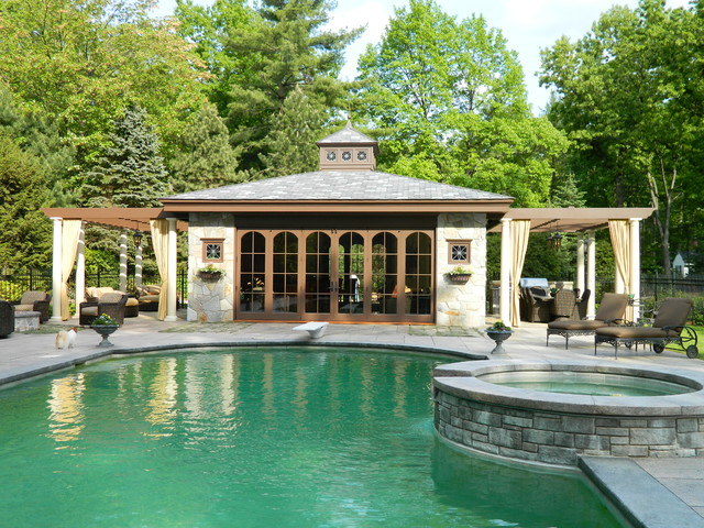 Cabana traditional pool other metro by residential for Outdoor pool cabana