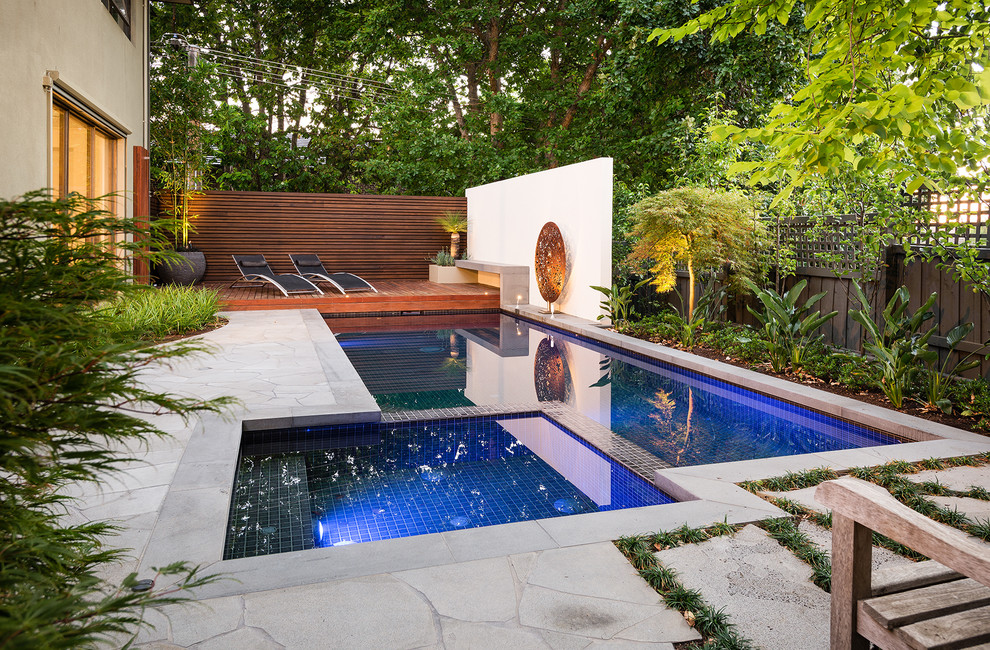 Inspiration for a contemporary rectangular pool remodel in Melbourne