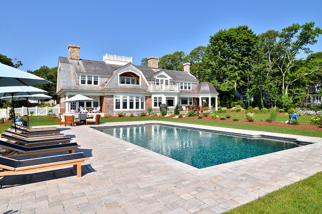 Cape Cod Shingle Style Home traditional-pool