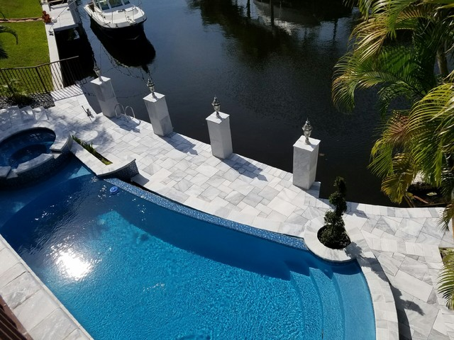 carrera white marble pool deck pavers - modern - pool - tampa -