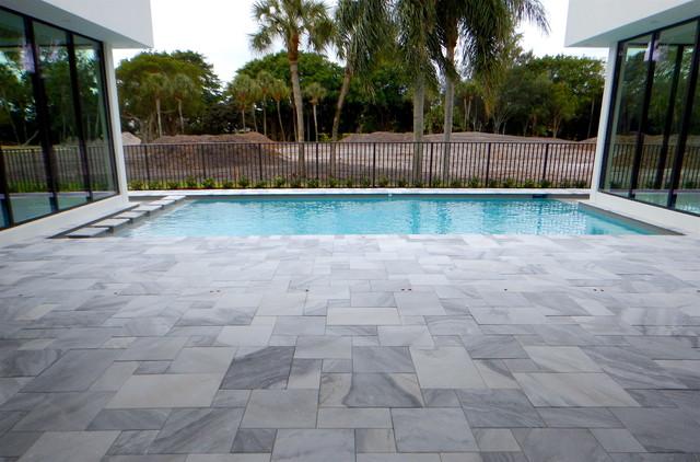 Carrera White Marble Pool Deck Pavers Modern Pool