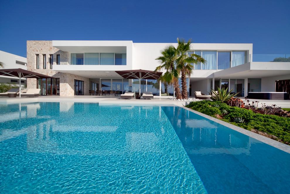Ispirazione per una grande piscina monocorsia moderna rettangolare dietro casa