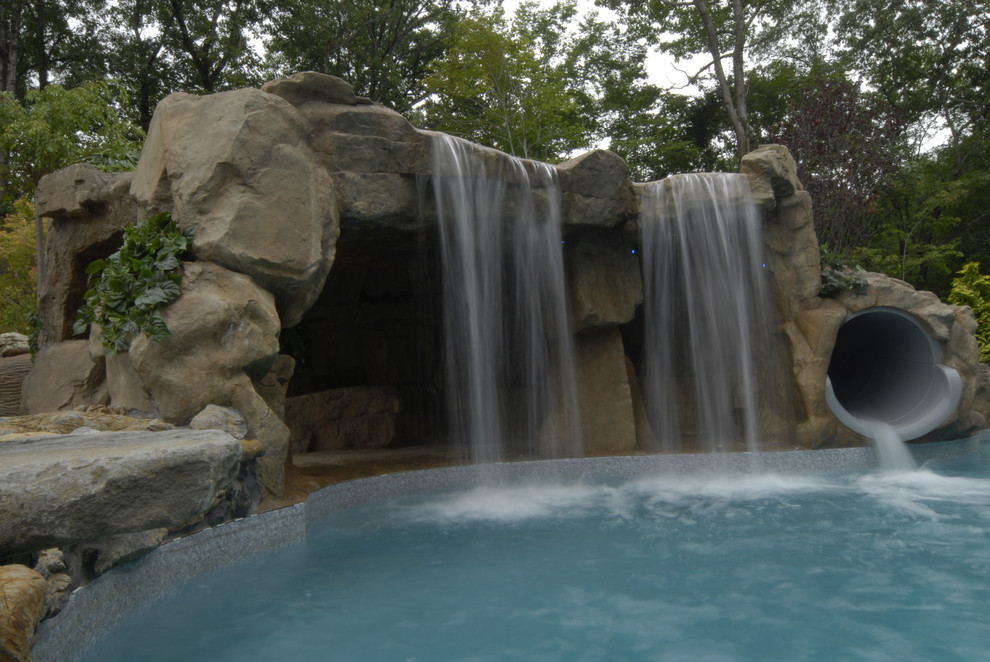 Cave Grotto Enclosed Slide With Waterfalls Tropical Pool New York By Aquafx