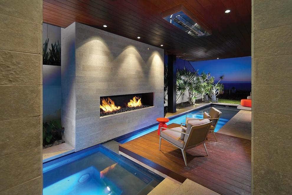 Pool - modern indoor custom-shaped pool idea in Orange County
