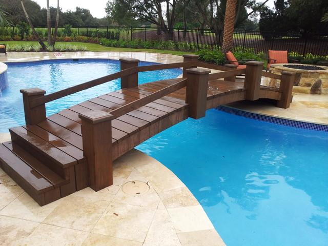 Swimming Pool Bridge Build : Cedar bridge over pool in orlando fl visualartisan