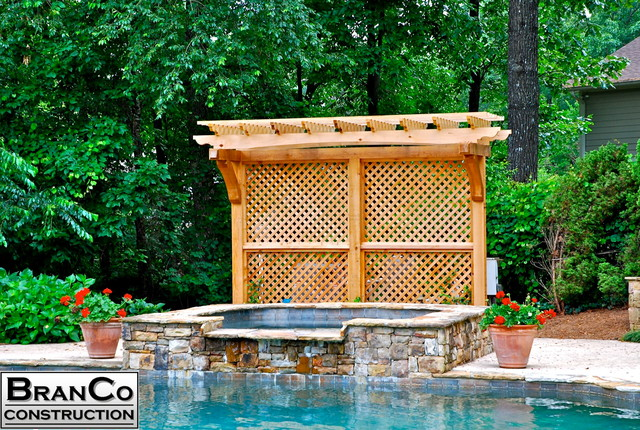Cedar privacy screen with arbor for Pool privacy screen