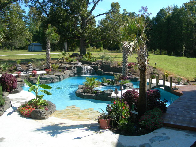 Charlotte Area Island living tropical-pool