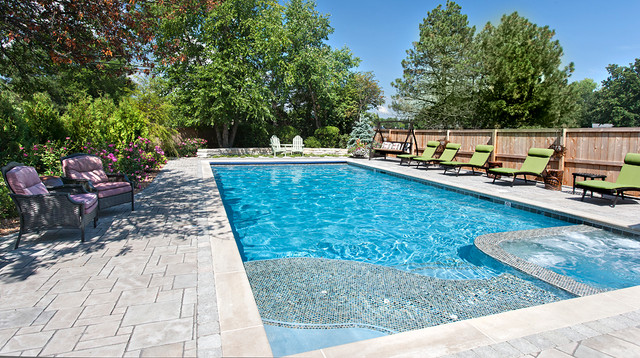 chicago pool and spa northbrook traditional pool - Rectangle Pool With Spa