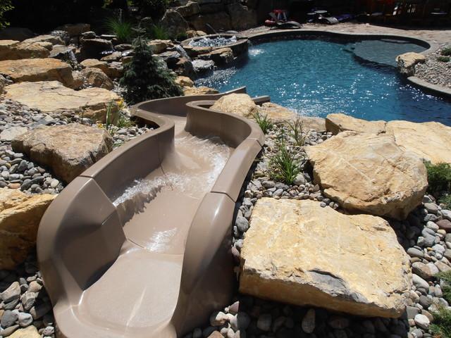 City of allentown custom salt water pool with spa slide for Custom pool water slides