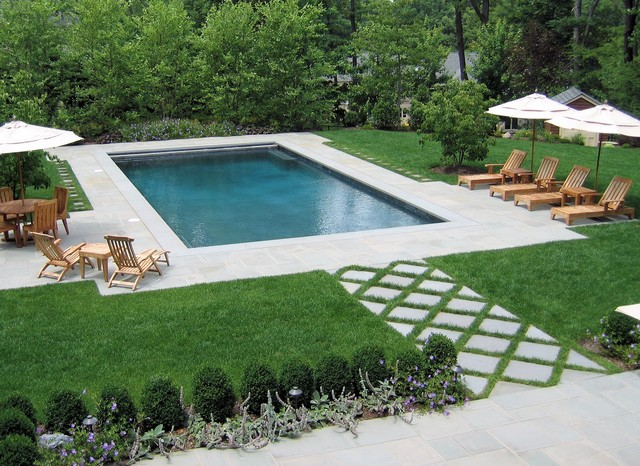 Rectangle pool landscaping ideas pdf for Landscaping around pool