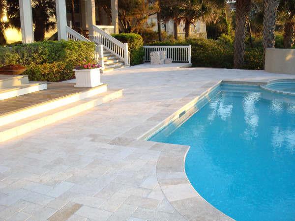 Classic Ivory Travertine Pavers Modern Pool Tampa