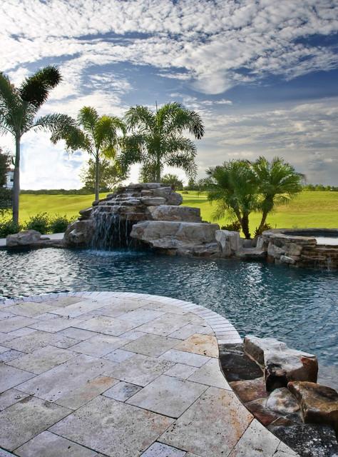 Classic Ivory Travertine Pavers modern-pool