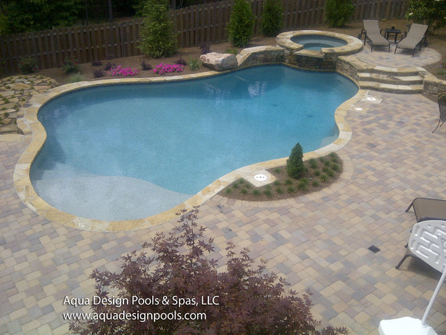 Classic Pool with Raised Spa - Traditional - Swimming Pool & Hot ...