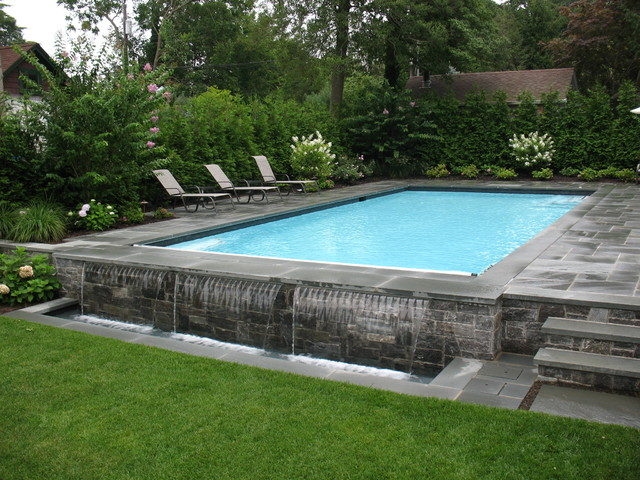 traditional rectangular pool idea in new york - Rectangle Pool With Water Feature