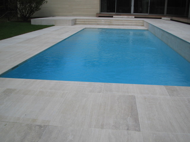 Classic Roman Travertine Modern Pool New York By