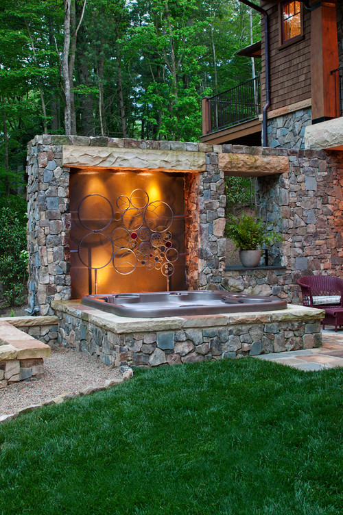 traditional pool Fire Pit, Hot Tub, Or... Both?