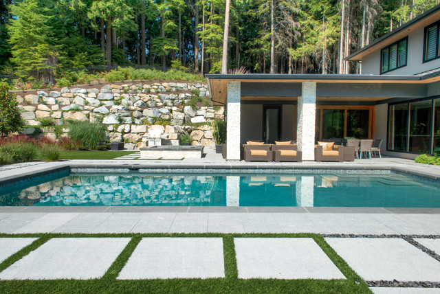 Pool - contemporary rectangular pool idea in Vancouver - Coastal Gray Granite - Pool And Patio - West Vancouver