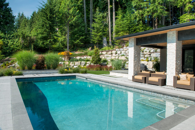 Coastal gray granite pool and patio west vancouver for Pool design vancouver