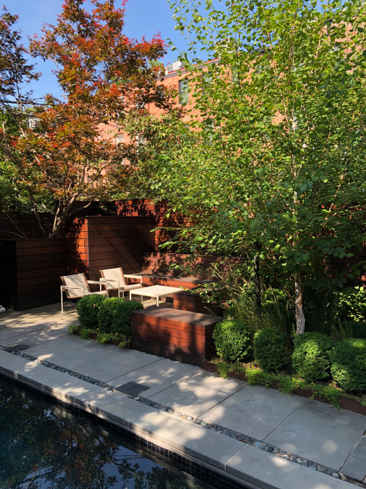 Inspiration for a mid-century modern pool remodel in New York