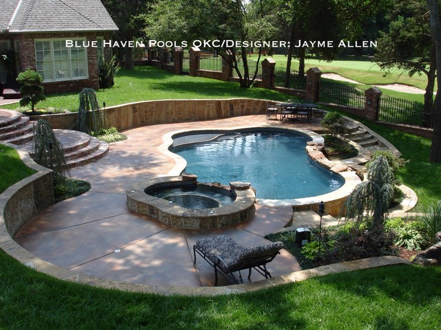 Cobble stone creek traditional pool oklahoma city for Pool design houzz
