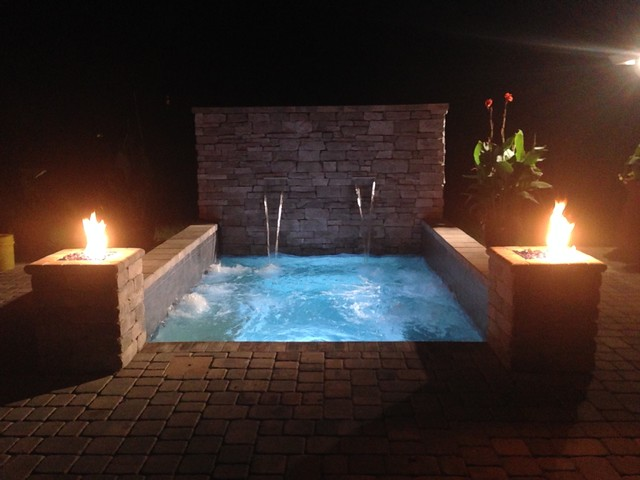 Cocktail Pool With Fountains And Fire Features Contemporary Swimming Pool  And Hot
