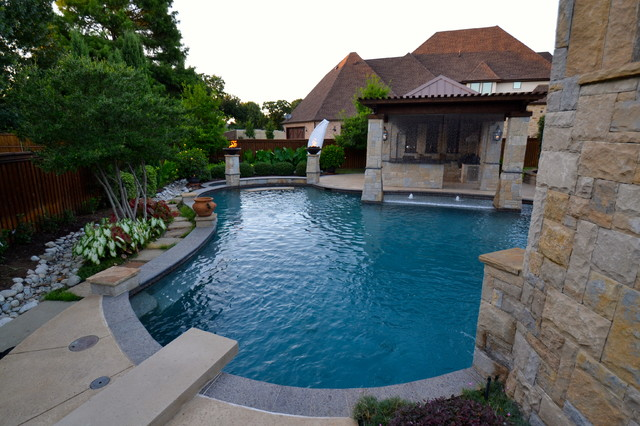 colleyville cascading water paradise transitional pool
